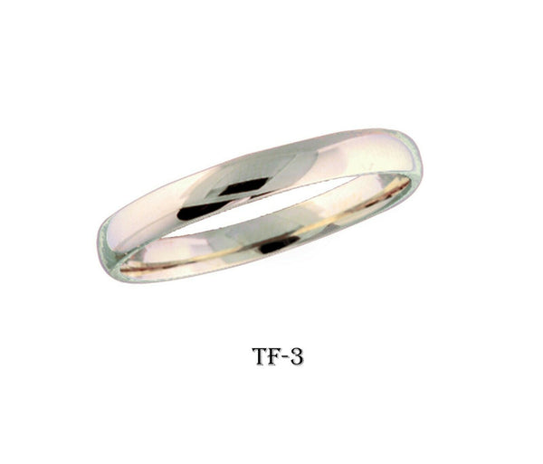 18k Solid Gold Elegant Ladies Modern Shinny Finish Flat Band Ring TF-3v