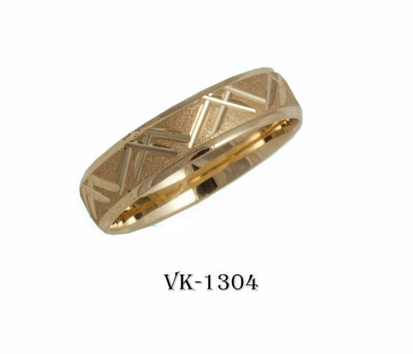18k Solid Gold Elegant Ladies Modern Sandstone Finish Flat Band 5mm Ring VK1304v
