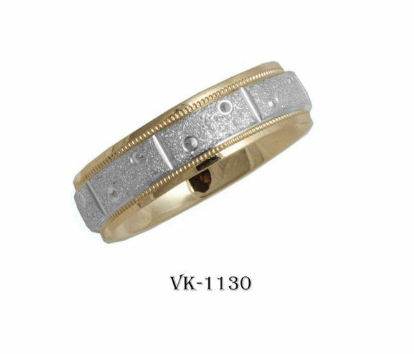 14k Solid Gold Elegant Ladies Modern Stone Finished Flat Band 6mm Ring VK1130v