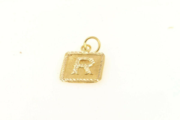 22k 22ct Solid Gold Charm Letter R Pendant Square Design p1120 ns