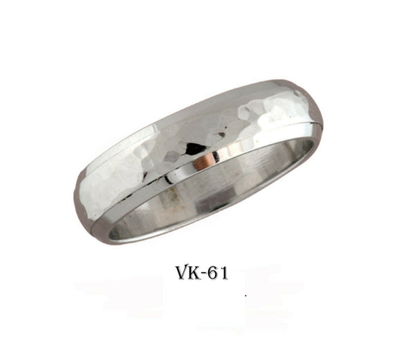 18k Solid Gold Elegant Ladies Modern Hammer Finished Flat Band 6MM Ring VK61v