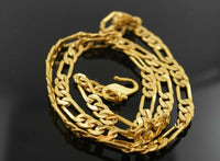 22k Chain Yellow Solid Gold Chain Curb Italian Necklace 5.2mm Figaro CUBAN C116