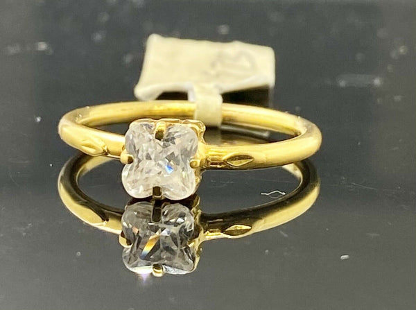 18k Ring Solid Gold Ladies Simple Solitaire High Polished Band R1973