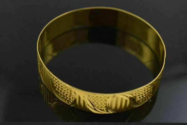 CUSTOM Handmade 22K SOLID yellow GOLD BANGLE BRACELET Cuff Diamond Cut