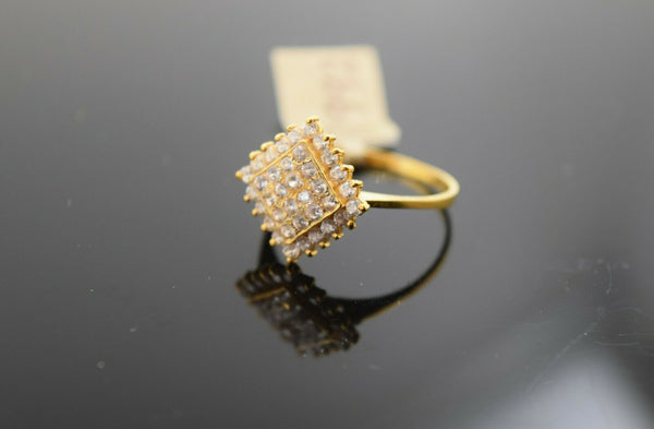 22k Ring Solid Gold Ring Ladies Shape Diamond Shape Stone Encrusted Design R1992