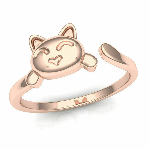 18k Solid Rose Gold Ladies Jewelry Elegant Simple Cat Band Ring CGR82R