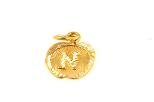 22k 22ct Solid Gold Charm Letter N Pendant Apple Design p1217 ns