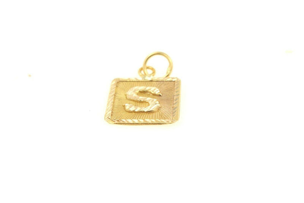 22k 22ct Solid Gold Charm Letter S Pendant Square Design p1121 ns