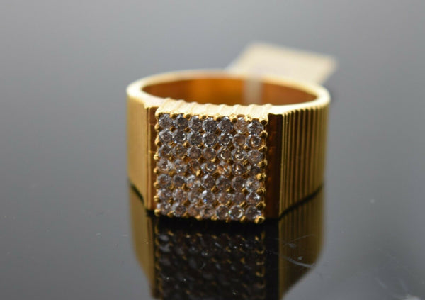22k Ring Solid Gold Ring Men Jewelry Modern Stone Encrusted sigma Design R2039