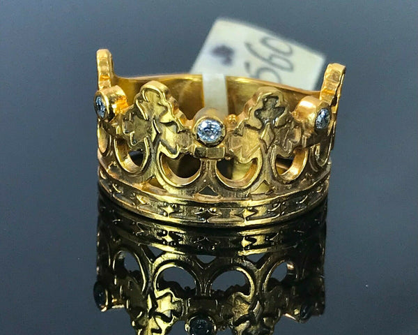 "22k Ring Solid Gold ELEGANT Charm Ladies Crown Band SIZE 7 ""RESIZABLE"" r2560mon"