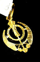 22k Pendant Solid Gold ELEGANT Simple Diamond Cut Sikh Religious Pendant P1531