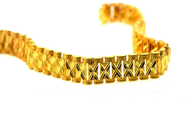 22k Solid Gold ELEGANT MENS BRACELET Simple Square Link Design b9982