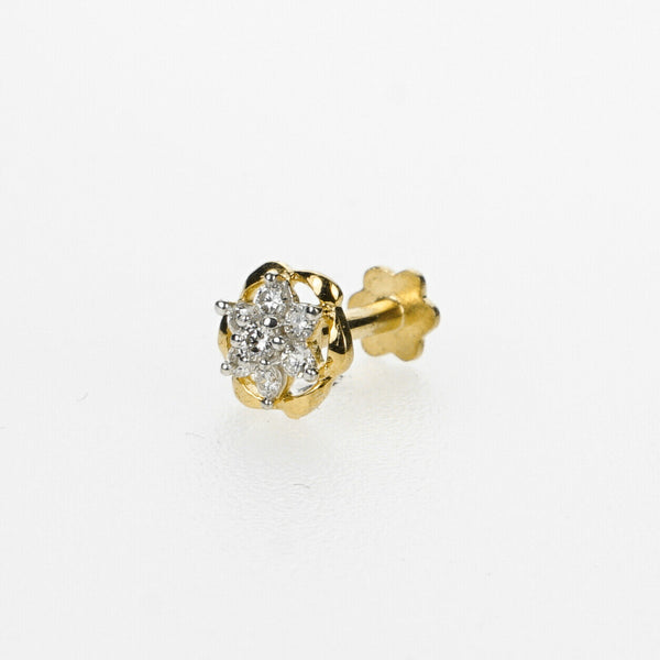 18k Stunning Modern Diamond Solid Gold Nose pin Unique Design Comfort Fit NP93