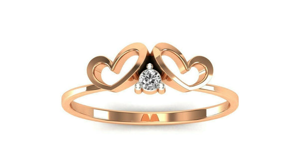18k Ring Solid Rose Gold Ladies Jewelry Elegant Simple Double Heart Band CGR78R