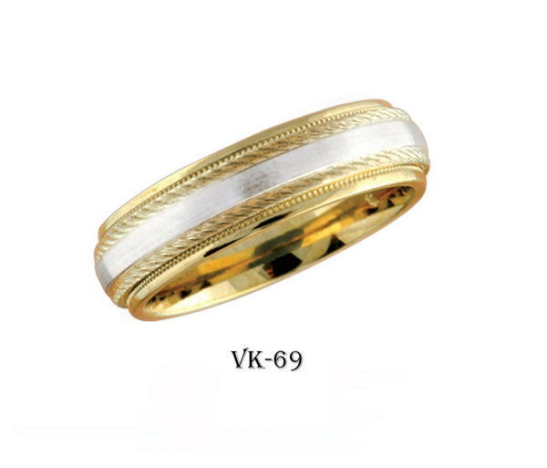 14k Solid Gold Elegant Ladies Modern Machine Finish Flat Band 6MM Ring Vk69v
