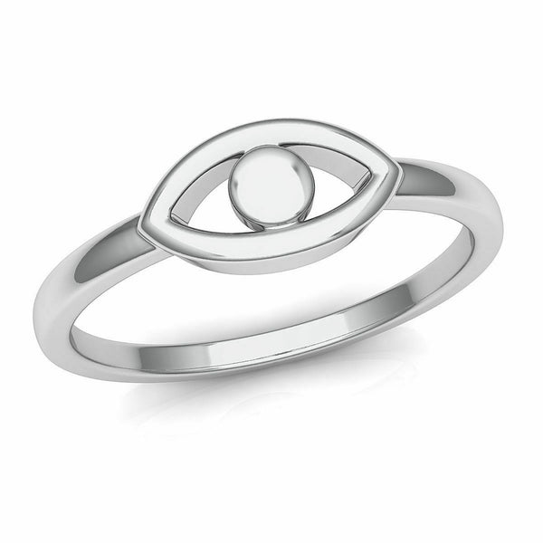 18k Ring Solid White Gold Ladies Jewelry Elegant Simple Eye Design CGR62W