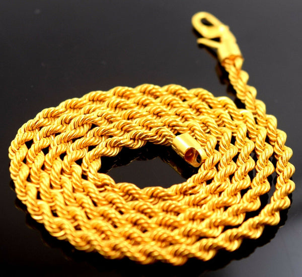 22k Yellow Gold Chain Rope Design Necklace 3 mm Durable Solid mf