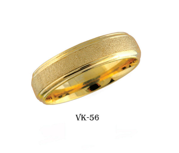 18k Solid Gold Elegant Ladies Modern Sand Finish Flat Band 6MM Ring VK56v