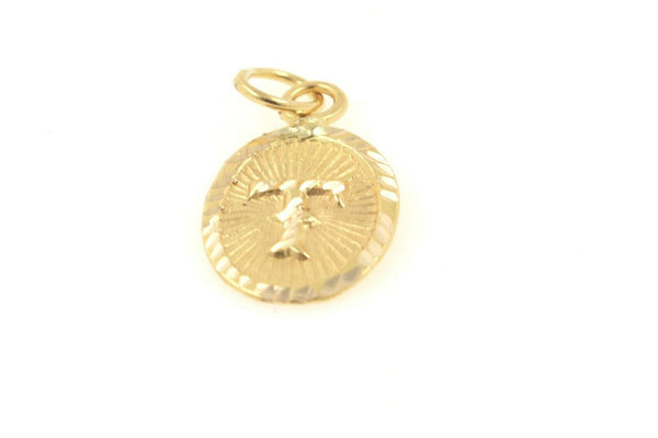 22k 22ct Solid Gold Charm Letter T Pendant Oval Design p1152 ns