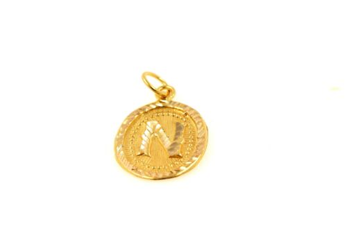 22k 22ct Solid Gold Charm Letter N Pendant Oval Design p1478 ns