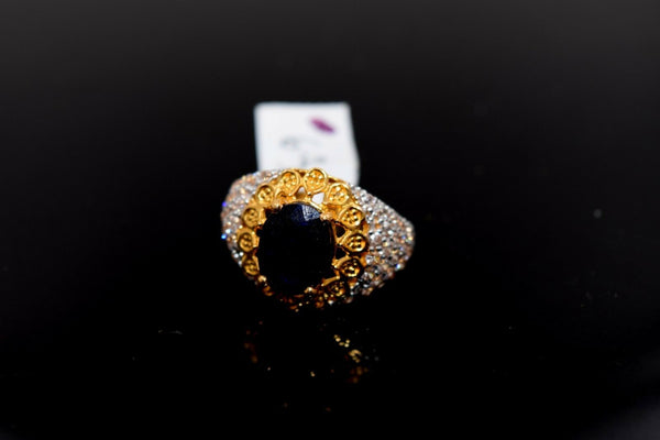 "22k Solid Gold ELEGANT Charm Ladies Blue Sapphire Ring SIZE 5 ""RESIZABLE"" r1532"