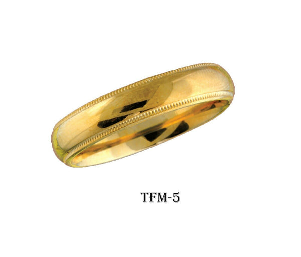 18k Solid Gold Elegant Ladies Modern Matte Finish Flat Band Ring TFM-5v