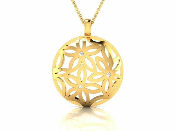 22k Pendant Solid Yellow Gold Ladies Jewelry Elegant Floral Design CGP7