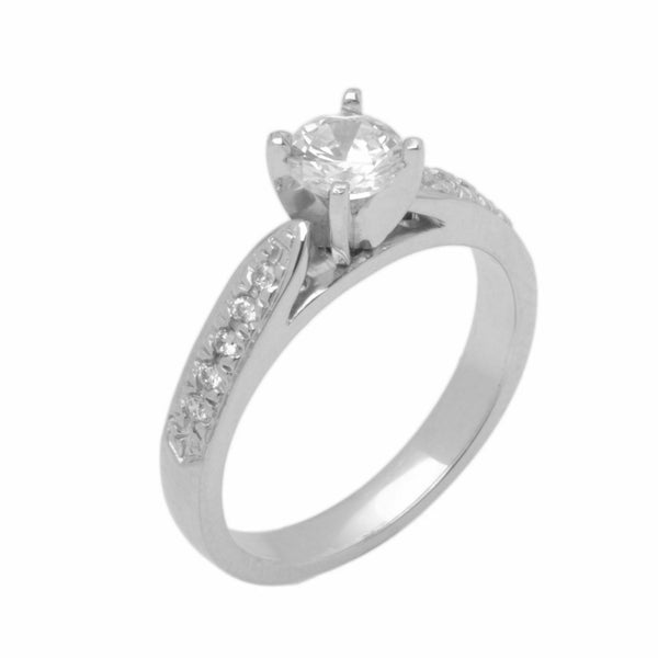 18k Solid Gold Elegant Ladies Modern Cathedral Prong Solitaire Ring D2136v