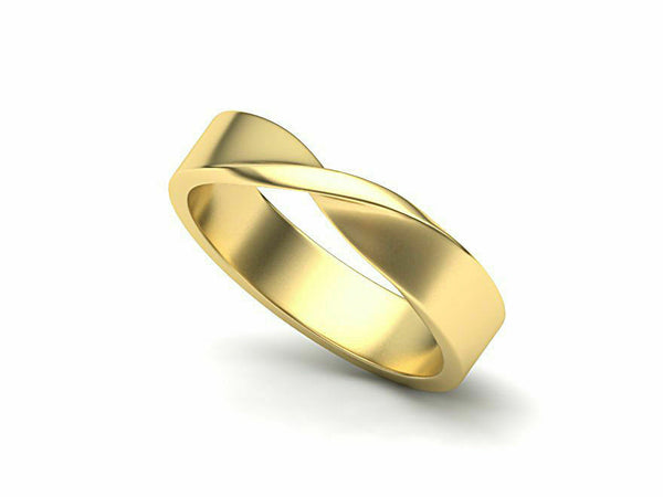 14k Ring Solid Yellow Gold Ladies Jewelry Elegant Front Twist Design CGR65