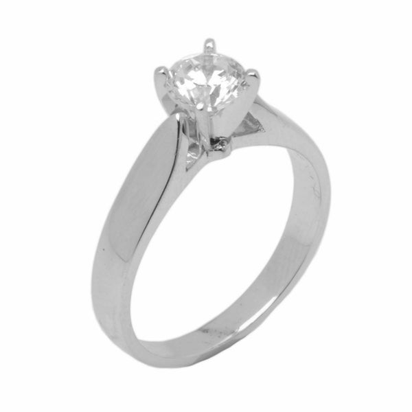18k Solid Gold Elegant ladies Modern Reverse Tapered Round Solitaire Ring D2027v