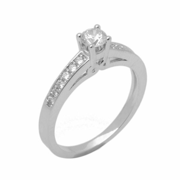 18k Solid Gold Elegant Ladies Modern Tapered Round Solitaire Ring D2129v