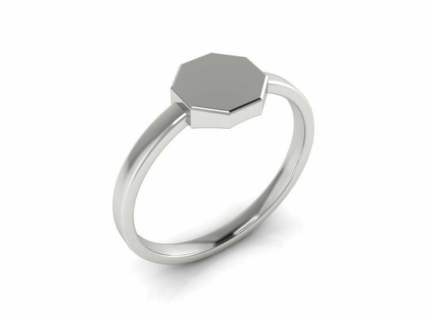 18k Ring Solid White Gold Ladies Jewelry Elegant Simple Octagon Design CGR61W