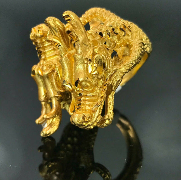 "22k Ring Solid Gold ELEGANT Charm Men Luck Dragon Ring SIZE 9 ""RESIZABLE"" r2190"