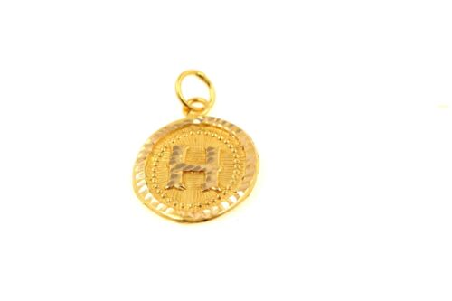 22k 22ct Solid Gold Charm Letter H Pendant Oval Design p1167z ns