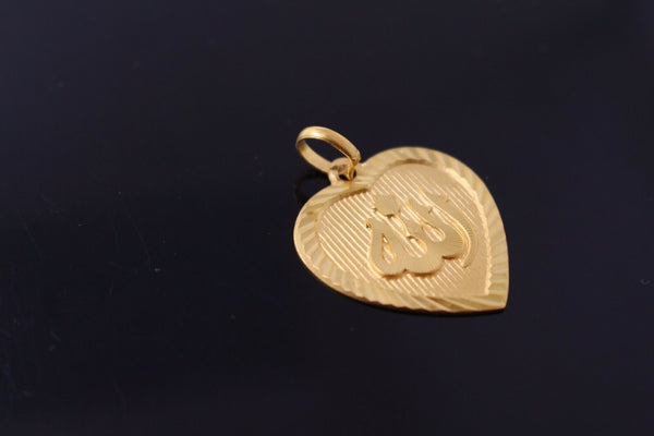 22k Pendant Solid Gold Elegant Simple Religious Islam Allah Heart Design p725