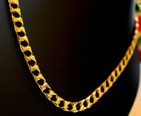 22k Chain Gold Solid Yellow Elegant Simple Cuban Link Design Length 22 inch c624