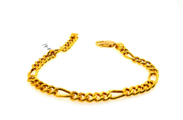 22k Solid Gold ELEGANT MENS BRACELET Simple Curb Design b4037