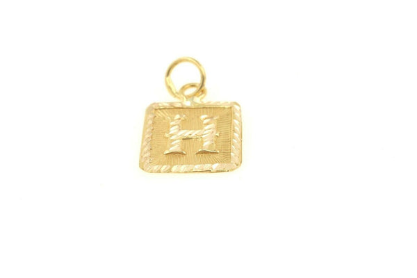 22k 22ct Solid Gold Charm Letter H Pendant Square Design p1110 ns