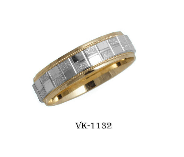 14k Solid Gold Elegant Ladies Modern Machine Finish Flat Band 6MM Ring VK1132v