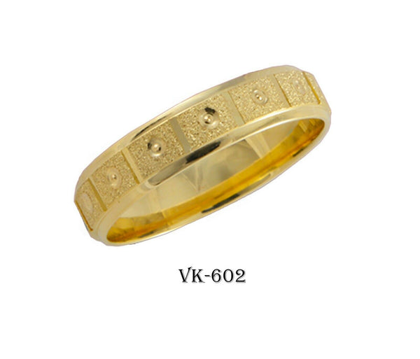 14k Solid Gold Elegant Ladies Modern Stone Finished Flat Band 5mm Ring VK602v(Y)