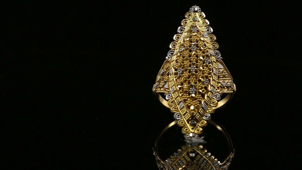 "22k Solid Gold ELEGANT Charm Ladies Filigree Ring SIZE 9 ""RESIZABLE"" r1738z"