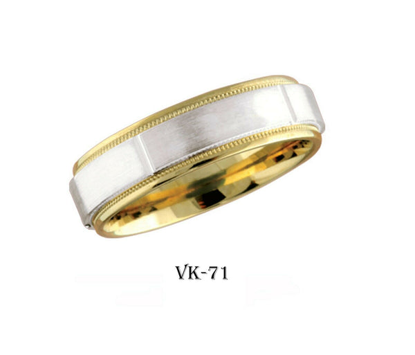 18k Solid Gold Elegant Ladies Modern Shiny Finish Flat Band 6MM Ring Vk71v