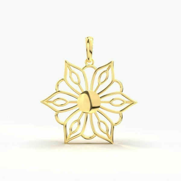 22k Solid Yellow Gold Ladies Jewelry Elegant Floral Pendant CGP36