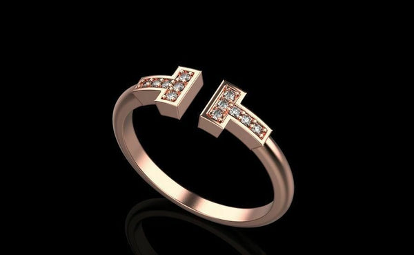 18k Ring Sold Rose Gold Ladies Jewelry Modern T Shape Design Design CGR53R