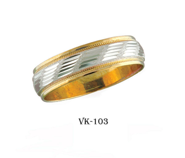 14k Solid Gold Elegant Ladies Modern Machine Finish Flat Band 6MM Ring VK103v