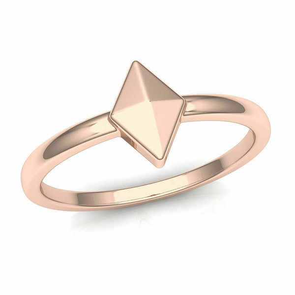 18k Solid Rose Gold Ladies Jewelry Modern Band with Triangular Design CGR57R