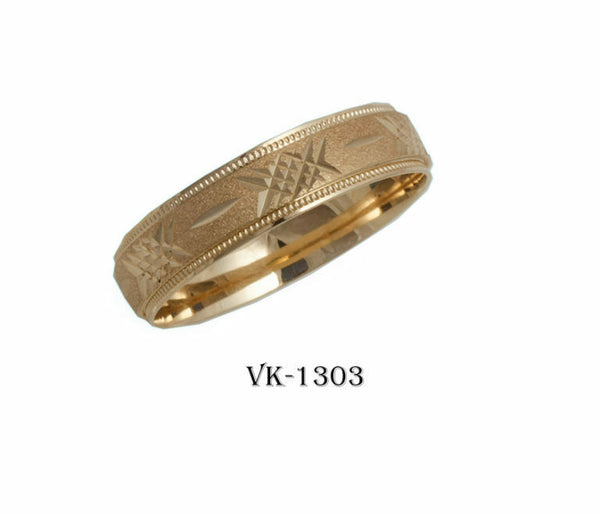 18k Solid Gold Elegant Ladies Modern Sandstone Finish Flat Band 5mm Ring VK1303v
