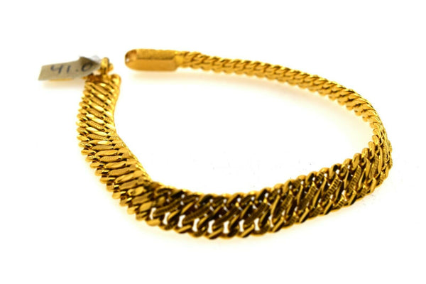 22k Solid Gold ELEGANT MENS BRACELET Simple Double Herringbone Design b9984