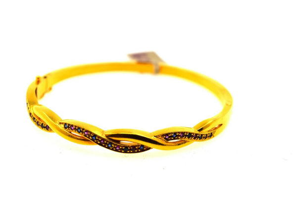22k Solid Gold Ladies Bangle Modern Twist Design with Stone Insert br68