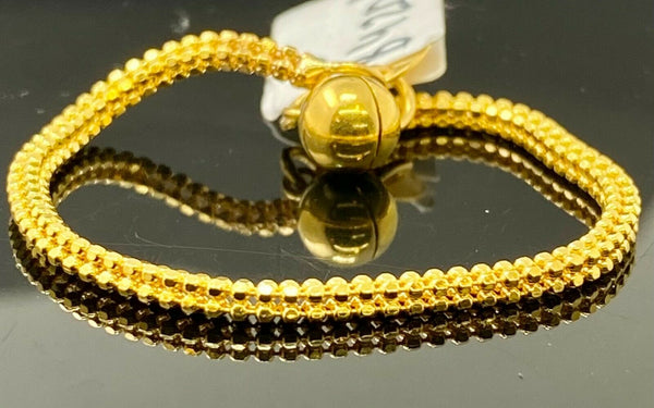 22k Bracelet Solid Gold Children Jewelry Simple Ball Link with Bell Design B4206